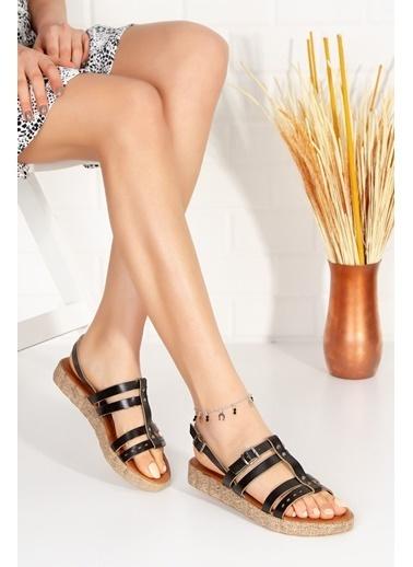 Derithy Peau Derı Sandalet-Taba-Abn2021 Siyah